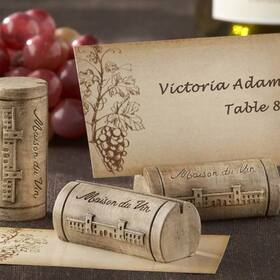 "Kate Aspen ""Maison du Vin"" Wine Cork Place Card/Photo Holder with Grape-Themed Place Cards (Set of 4)"