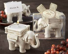 "Kate Aspen ""Lucky Elephant"" Antique Ivory-Finish Tea Light Holder"