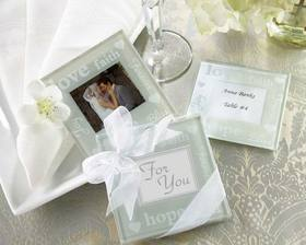 "Kate Aspen ""Good Wishes"" Pearlized Photo Coasters"