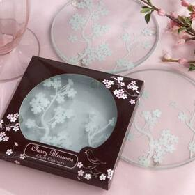"Kate Aspen ""Cherry Blossoms"" Frosted Glass Coasters"