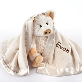 "Baby Aspen BA12002IV ""Pig in a Blanket"" Two-Piece Gift Set in Adorable Vintage-Inspired Gift Box"