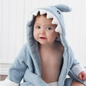 "Baby Aspen BA14003BL ""Let the Fin Begin"" Terry Shark Robe"