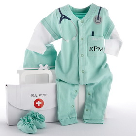 "Baby Aspen ""Big Dreamzzz"" Baby M.D. Two-Piece Layette Set in ""Doctor's Bag"" Gift Box, UPC: 843905022117, BA16010GN"