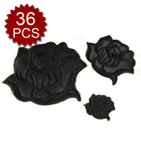 Aspire Uniform Logo Patch Iron-On Emblems, Sew to Any Garment, Black Rose Insignia