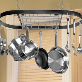Classicor 12021 Wrought Iron Oval Pot Rack - Black