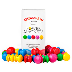 Officeship 100 Pieces Power Magnets, 3/4 inch Diameter, Assorted Colors