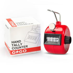 GOGO 4 Digit Plastic Tally Counter, ABS Hand Counter Clicker, Black & Red