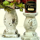 Keystone Candle Distressed Candle Holders Ceramic
