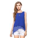 TOPTIE Women's Chiffon Color Blocking Tank Tops Vogue Blouse Vest T-Shirt