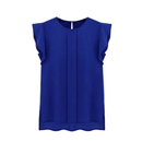 TopTie Women's Sleeve Ruffle Shoulder Chiffon Tops Casual Shirt Tops Blouse