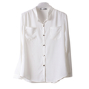 TOPTIE Basic Sheer Chiffon Button Down Blouse with Pockets Shirt Top