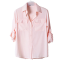 TOPTIE Long Sleeves Chiffon Collared Button Down Blouse with Pockets Shirt Top