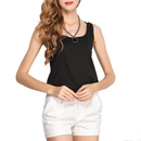 TopTie Women's Sleeveless Sheer Chiffon Shirt Blouse Tank Top Vest, Solid Color