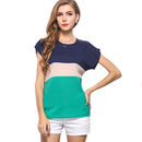 TopTie Women's Color Blocking Chiffon Top Blouse T-Shirt Tee Shirt