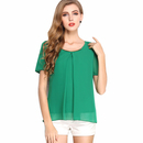TopTie Women's Chiffon Top Short Sleeve Split-Front Blouse Jersey Tee Top