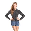 TopTie Women's Printed Chiffon Top Long Sleeve Collar Blouse Tee Shirt