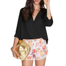 TopTie Women's Long Sleeve V Neck Loose Chiffon Pullover T-shirt Blouse