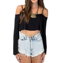 TopTie Long Sleeve Off Shoulder Crop Blouse Jersey Top Casual Shirt
