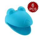 Aspire 6Pcs Silicone Pot Holders / Mini Oven Mitts For Barbecue, Frog shape