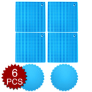 Aspire Set Of 6, 4 Pcs Hot Pads Tablemats & 2 Pcs Silicone Drink Coasters