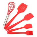 Aspire 5PCS/SET Red Silicon Kitchen Utensils Set - Balloon Whisk, Pastry Brush, Spatula & Scrapers, Fish Slice