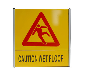 "(Price / EA) Officeship Warning Sign Caution Wet Floor Sign, Yellow, 8.5"" x 8.5"", Aluminum Sign"