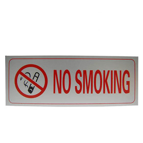 "Stick Notice Signs - Aluminum NO SMOKING Wall Sign, 3.5"" x 9.45"", Price/12 pcs"