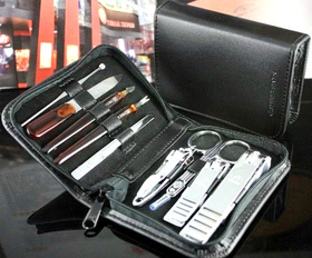 ALICE 9 Pc Manicure / Pedicure Kit, Leather Case, Travel & Grooming Kit