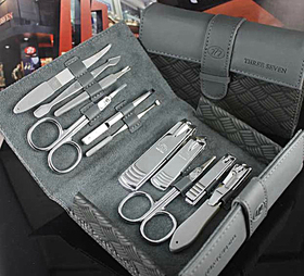 ALICE 11 Pc Manicure Set, Pedicure Set, Leather Case, Travel & Grooming Set