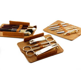 ALICE 15 Pc Deluxe Manicure Set, Pedicure Set, Leather Case, Travel & Grooming Set