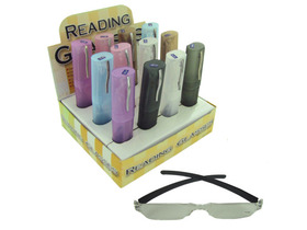12 pack reading glasses assorted color cases and strengths, Price/12/case
