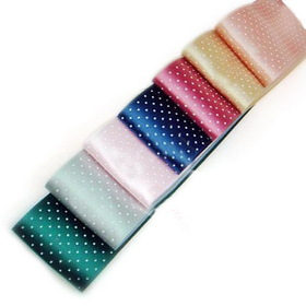 "Oparty Polka Dot Satin Ribbons 21 Rolls 1-1/2"", 7 Colors Assorted"