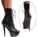 Karo's Shoes 3363 Black Patent with Red Zipper, 6