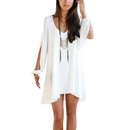 TopTie V Neck Split Sleeve Loose Chiffon Dress Asymmetrical Hem Chemise Blouse