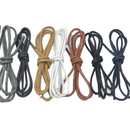 TopTie Faux Leather Half Round Shoelaces, Solid Color, 35 Inches, Pair