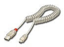 LINDY 31925 2m USB 2.0 Coiled Cable, Type A to mini B, Transparent