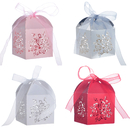 Aspire 50 Pcs / Pack Wedding Favor Boxes Rose Laser Cut Gift Boxes with Ribbon Great For Party