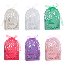 Aspire 50 Pcs / Pack Wedding Favor Boxes Cut-out Design Candy Box with Ribbon Wedding Accessories