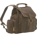 Le Donne Leather DS-01  Distressed Leather Multi Pocket Back Pack