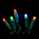 LEDgen BAT-50MM4M-4G ; 5MM Chonical Battery Operated LED 4 color multi 50 count lights set
