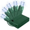 LEDgen BAT-50MMPW-4G ; 5MM Chonical Battery Operated LED Pure White 50 count lights set on Green Wire
