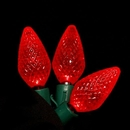 LEDgen C-25C9RE-12G - 25 count Commercial Grade faceted C9 Red LED on Green Wire