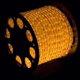 "LEDgen C-ROPE-LED-YE-1-10 Ropelight, LED, 10mm, gold, gold rope, 150' spool, 1"" spacing, 36' cut length, w/ accessories."