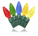 LEDgen S-70C65M-4G - 70 Count Standard Grade C6 Facitied Multi Colored LED Light Set with in-line rectifer on Green Wire