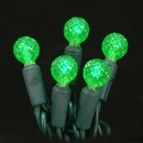 LEDgen S-70G12GR-4G - 70 Count Standard Grade G12 Facitied Green LED Light Set with in-line rectifer on Green Wire