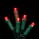LEDgen S-70MMRE-4G - 70 Count Standard Grade 5MM Conical Red LED Light Set with in-line rectifer on Green Wire