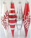 LEDgen WL-FIN-12PK-SFLN-RW - Red And White Finial Ornament With Snowflake And Line Glitter Design