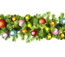 LEDgen WL-GARSQ-09-TROP-LWW 9' Pre-Lit Warm White LED Sequoia Garland Decorated With The Tropical Ornament Collection