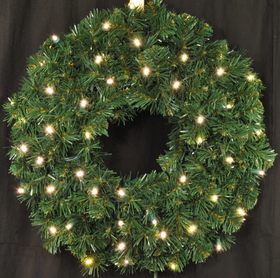 LEDgen WL-GWSQ-02-LWW-BAT 2' Pre-Lit Battery Operated LED Warm White Sequoia Wreath