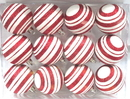 LEDgen WL-ORN-12PK-LN-RE - Red And White Ball Ornament With Line Design 12 Pack